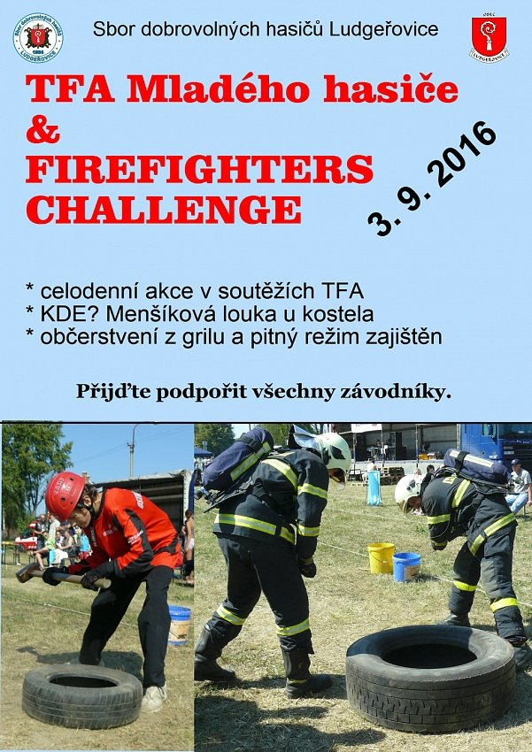 Soutěže TFA mladého hasiče a Firefighters Challenge proběhnou v Ludgeřovicích na začátku září 2016